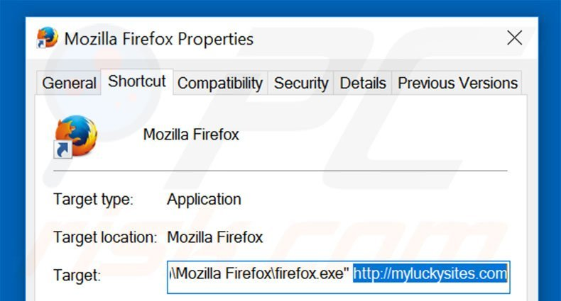 Removing myluckysites.com from Mozilla Firefox shortcut target step 2
