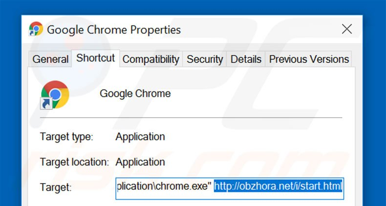 Removing obzhora.net from Google Chrome shortcut target step 2