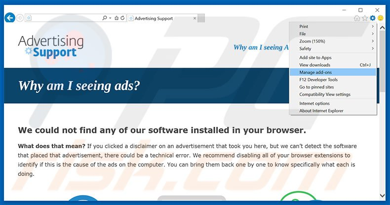 Removing {PRODUCT_NAME} ads from Internet Explorer step 1