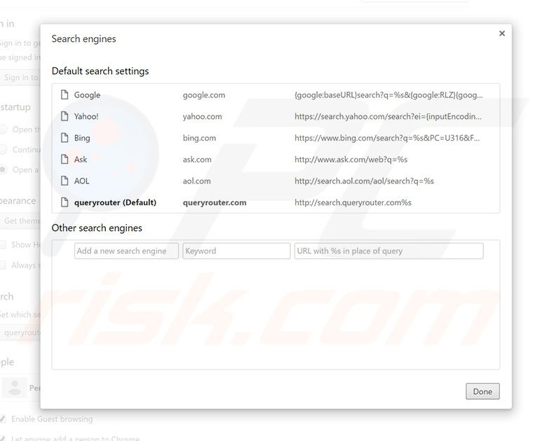 Removing search.queryrouter.com from Google Chrome default search engine