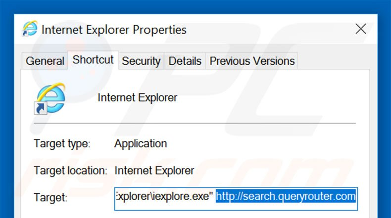 Removing search.queryrouter.com from Internet Explorer shortcut target step 2