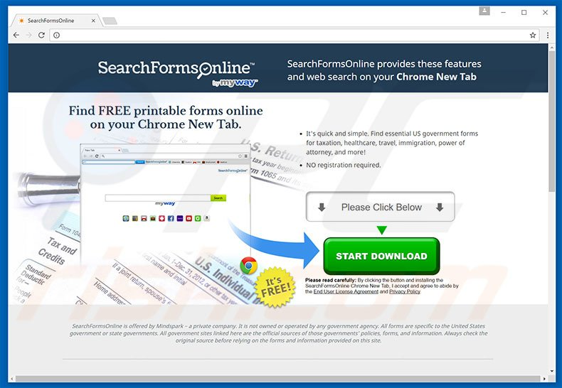Website used to promote SearchFormsOnline browser hijacker