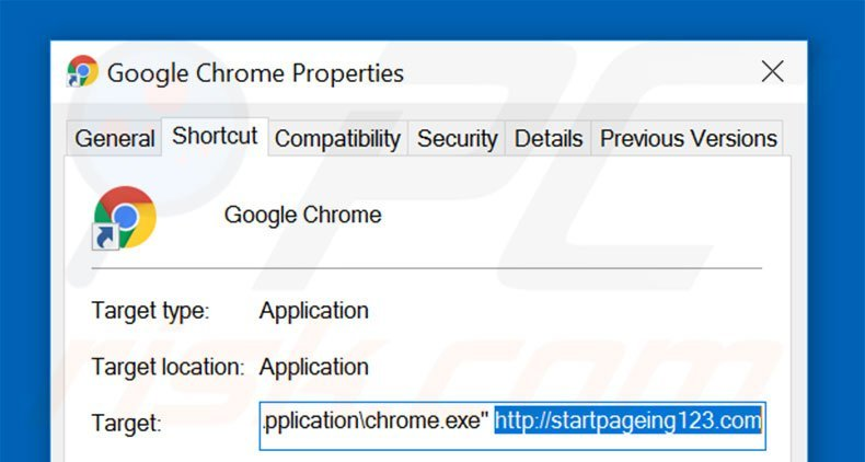 Removing startpageing123.com from Google Chrome shortcut target step 2