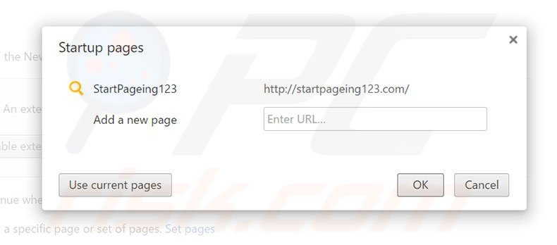Removing startpageing123.com from Google Chrome homepage