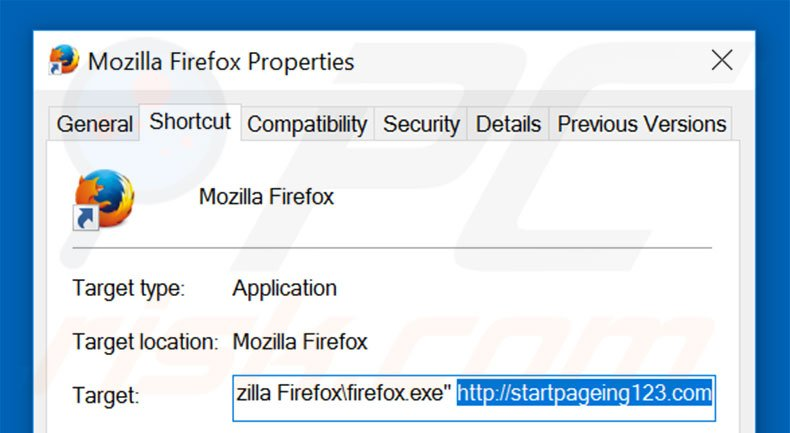 Removing startpageing123.com from Mozilla Firefox shortcut target step 2