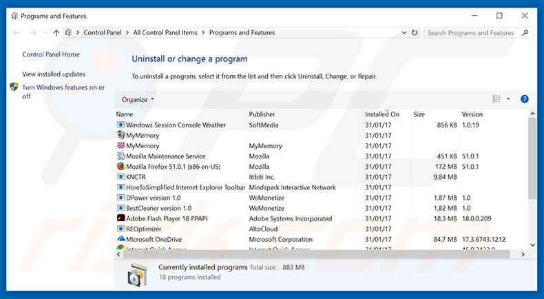 Windows Security Alert adware uninstall via Control Panel
