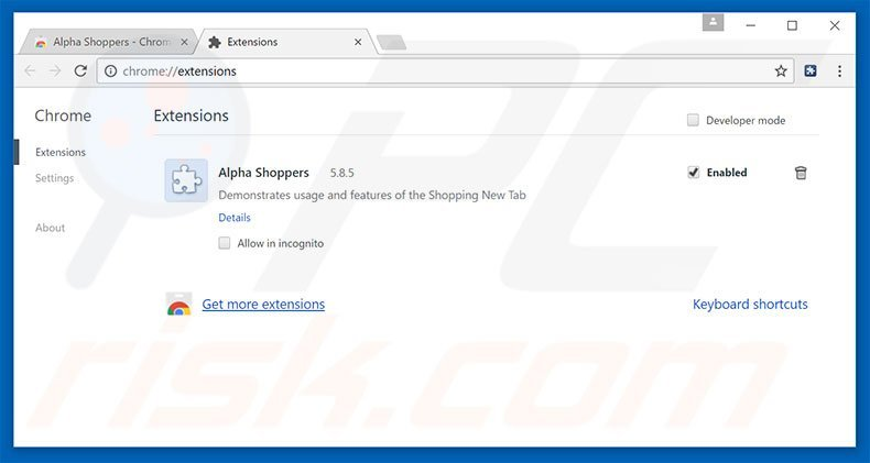 Removing Alpha Shoppers ads from Google Chrome step 2