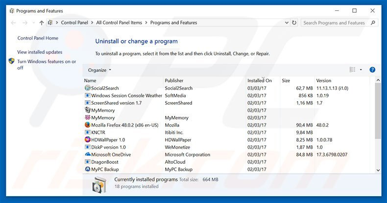 Alpha Shoppers adware uninstall via Control Panel