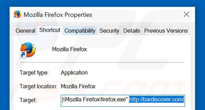 Removing bardiscover.com from Mozilla Firefox shortcut target step 2