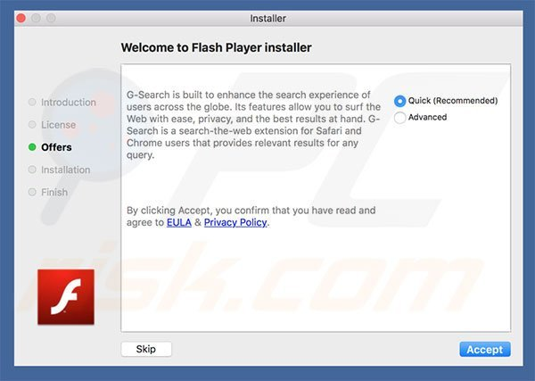 Delusive installer used to promote blasearch.com
