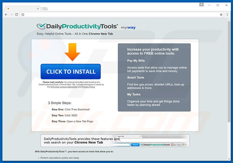 Website used to promote DailyProductivityTools browser hijacker