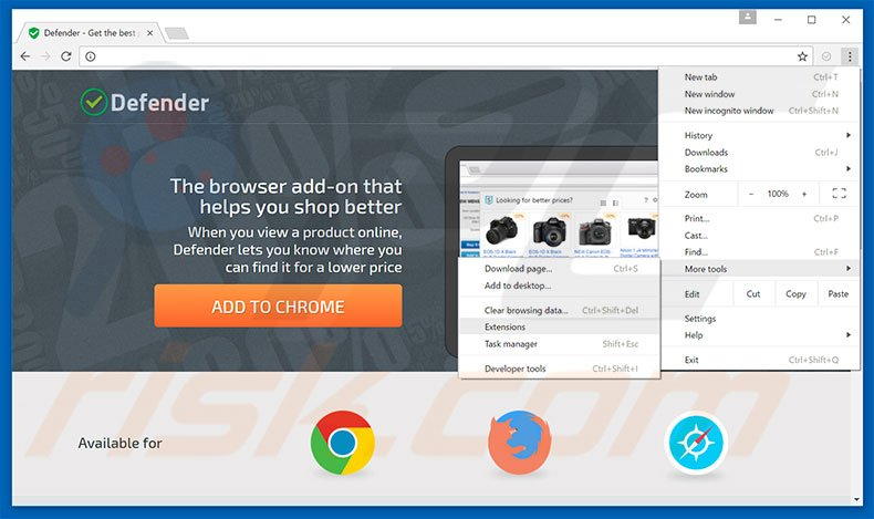 Removing Defender  ads from Google Chrome step 1