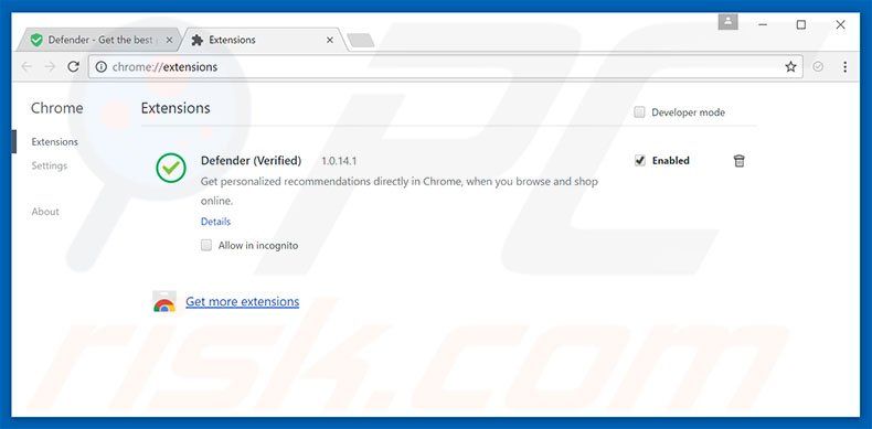 Removing Defender ads from Google Chrome step 2