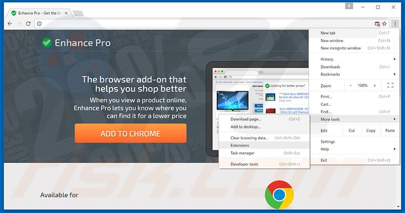 Removing Enhance Pro  ads from Google Chrome step 1