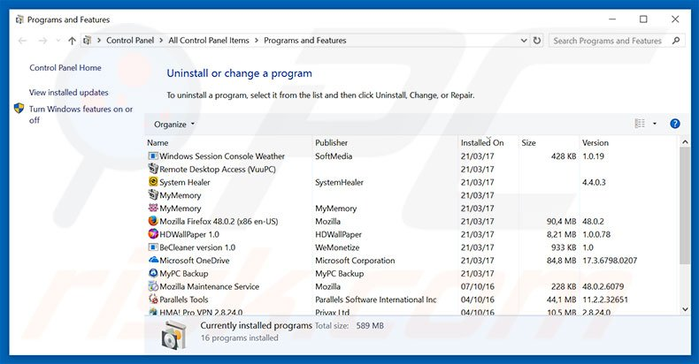 Enhance Pro adware uninstall via Control Panel