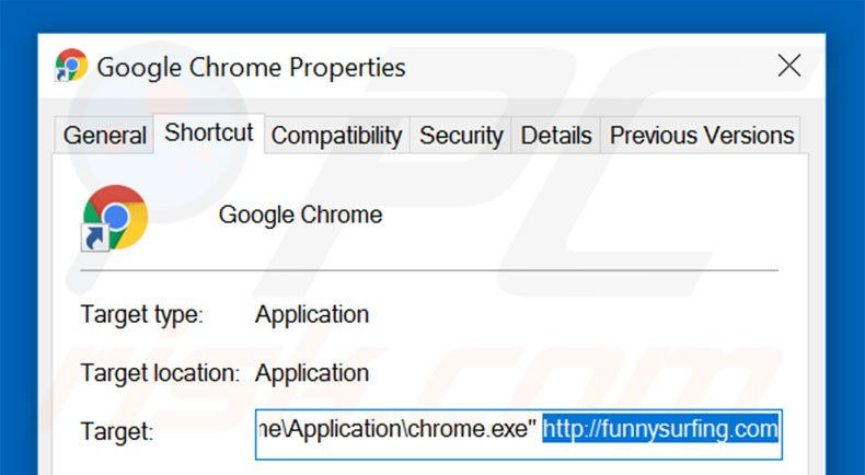 Removing funnysurfing.com from Google Chrome shortcut target step 2
