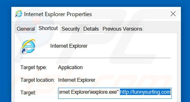 Removing funnysurfing.com from Internet Explorer shortcut target step 2