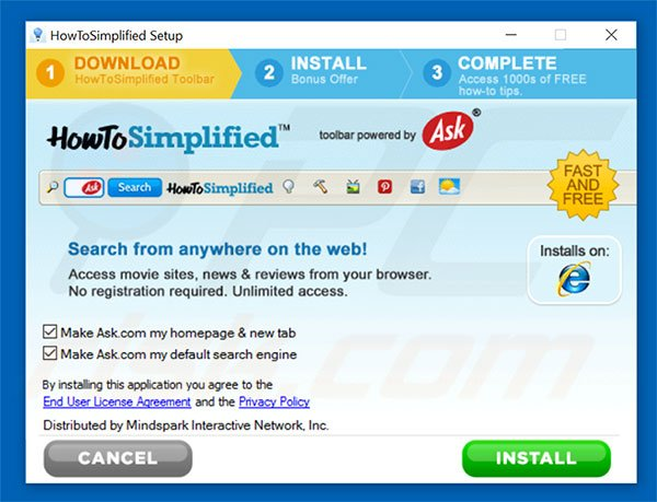 Official HowToSimplified browser hijacker installation setup
