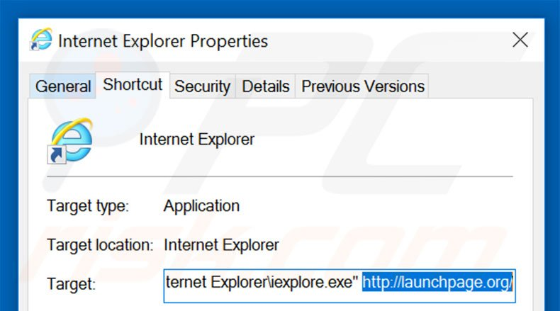 Removing launchpage.org from Internet Explorer shortcut target step 2