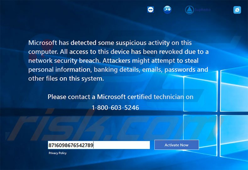 Remove Microsoft Has Detected Some Suspicious Activity scam