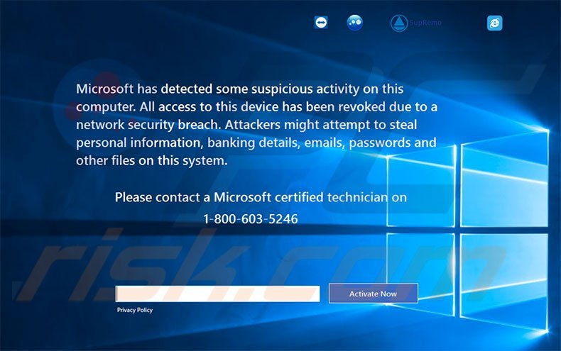 Microsoft Has Detected Some Suspicious Activity scam