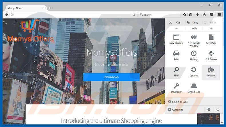 Removing Mommys Offers ads from Mozilla Firefox step 1