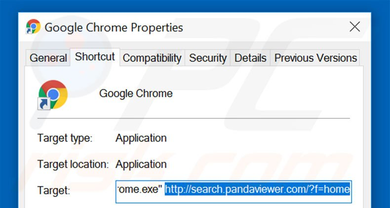 Removing search.pandaviewer.com from Google Chrome shortcut target step 2