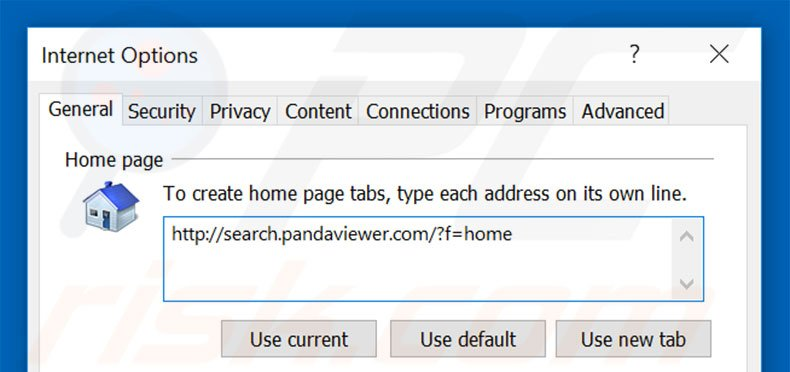 Removing search.pandaviewer.com from Internet Explorer homepage