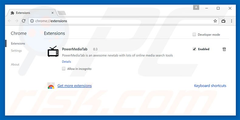 Removing search.powermediatabsearch.com related Google Chrome extensions