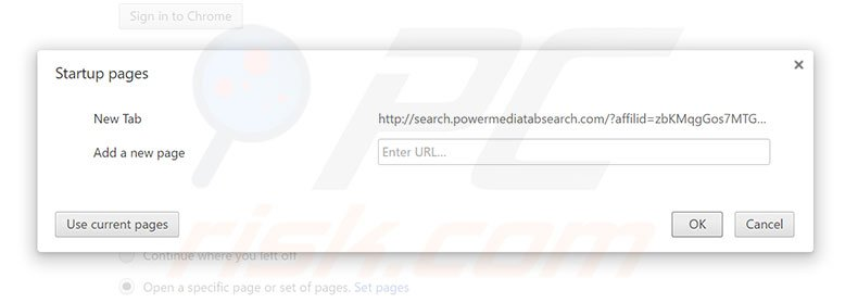 Removing search.powermediatabsearch.com from Google Chrome homepage