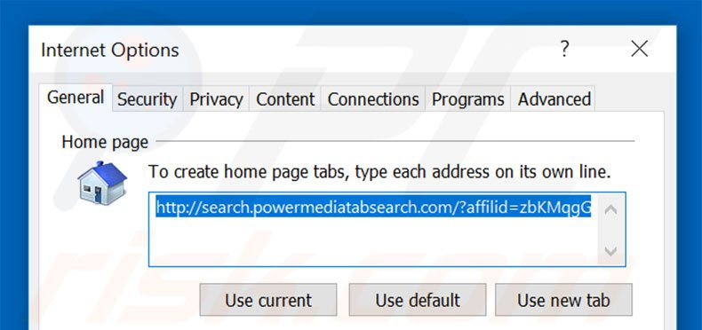 Removing search.powermediatabsearch.com from Internet Explorer homepage