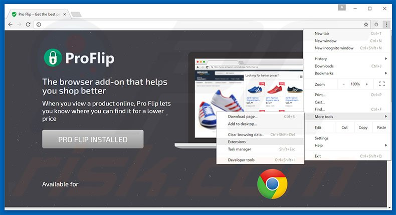 Removing Pro Flip  ads from Google Chrome step 1