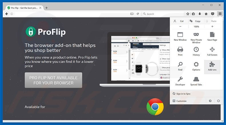 Removing Pro Flip ads from Mozilla Firefox step 1