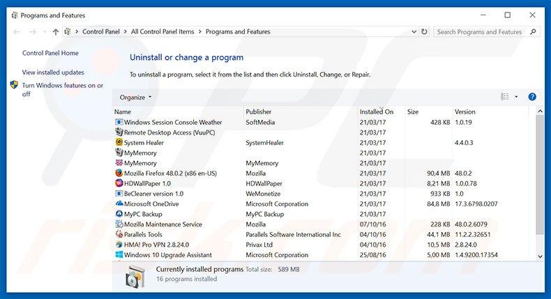 Pro Flip adware uninstall via Control Panel