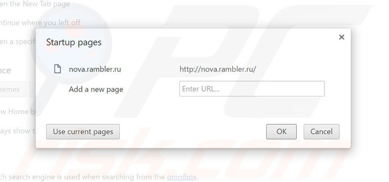 Removing rambler.ru from Google Chrome homepage