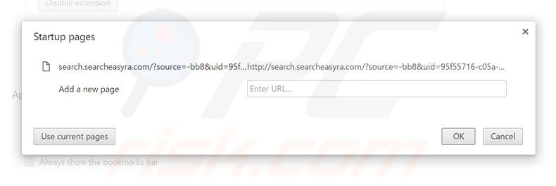 Removing search.searcheasyra.com from Google Chrome homepage