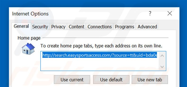 Removing search.searcheasysa.com from Internet Explorer homepage