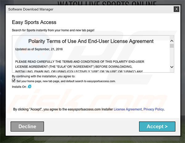Official Easy Sports Access browser hijacker installation setup