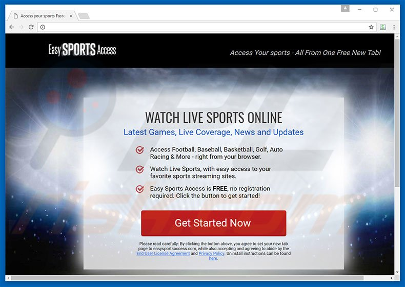 Website used to promote Easy Sports Access browser hijacker