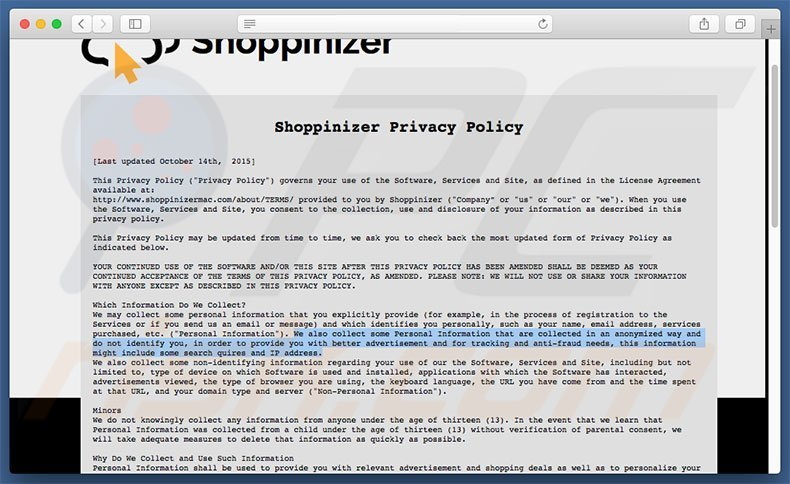 Shoppinizer Privacy Policy