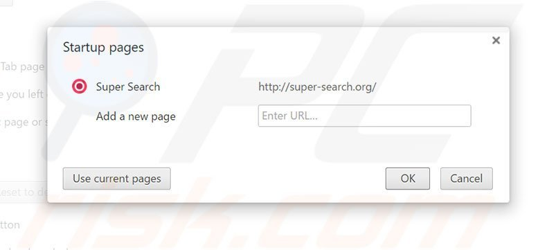 Removing super-search.com from Google Chrome homepage