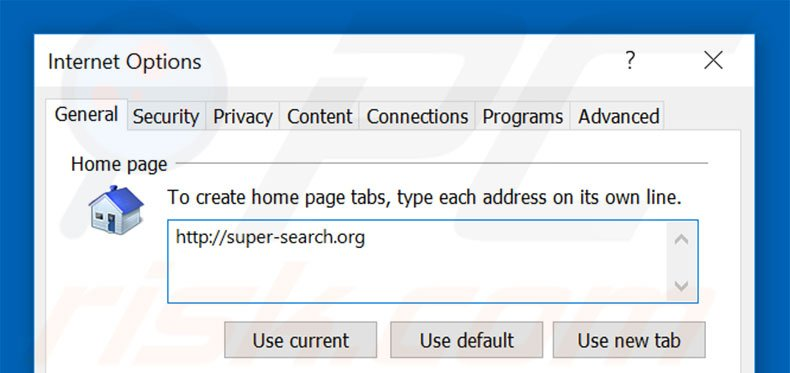 Removing super-search.com from Internet Explorer homepage