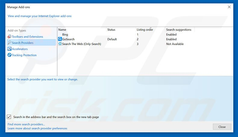 Removing super-search.com from Internet Explorer default search engine