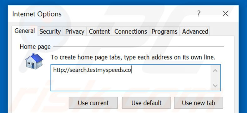 Removing search.testmyspeeds.co from Internet Explorer homepage