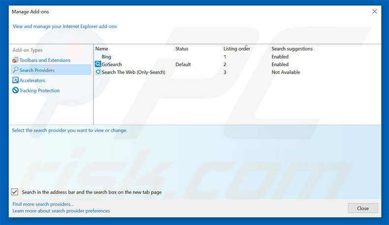 Removing search.testmyspeeds.co from Internet Explorer default search engine