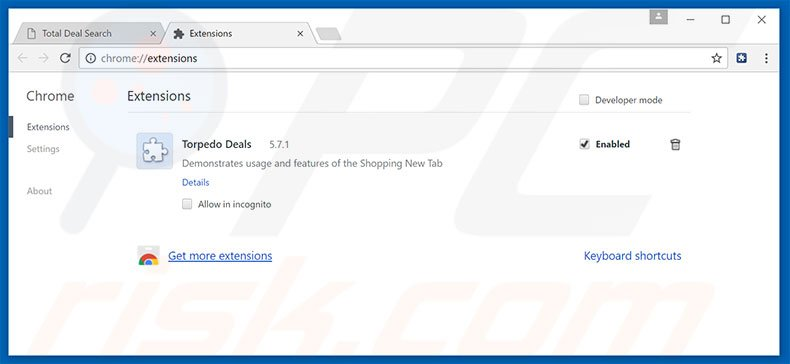 Removing Total Deal Search ads from Google Chrome step 2