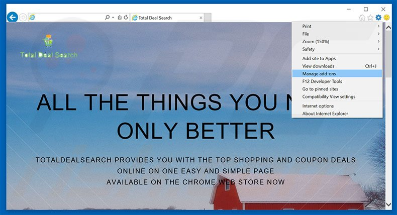 Removing Total Deal Search ads from Internet Explorer step 1