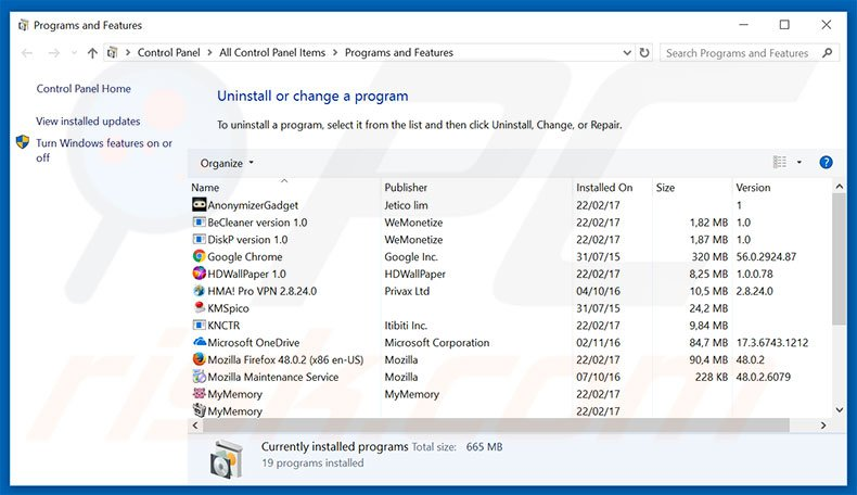 Total Deal Search adware uninstall via Control Panel