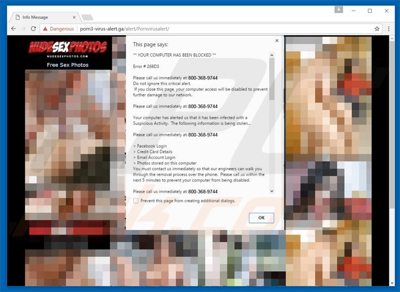 your computer has been blocked scam - porn variant