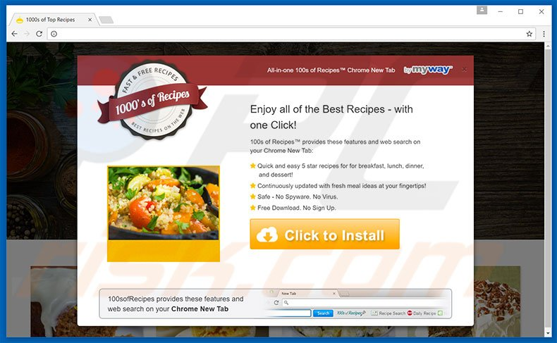 Website used to promote 100sofRecipes browser hijacker
